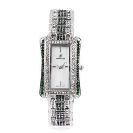 GENOA Japanese Movement White MOP Dial Water Resistant Watch with Green and White Austrian Crystal in Silver Tone with Chain Strap, Number of Austrian Crystals 274