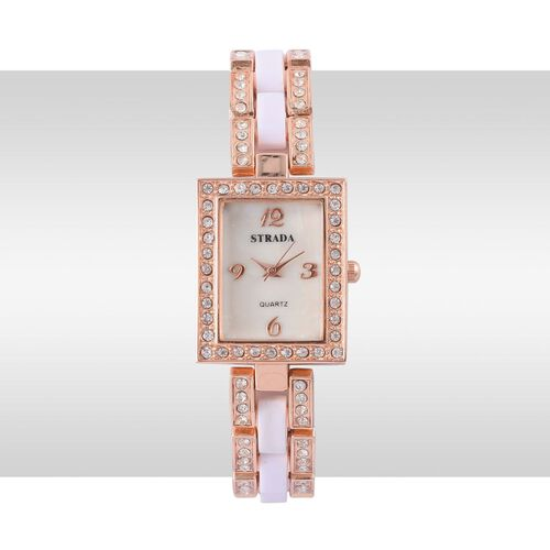 STRADA Japanese Movement White Dial with White Austrian Crystal Water Resistant Watch in Rose Gold Tone with Stainless Steel Back and White Strap