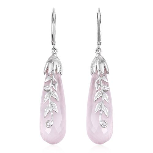 Kimberley Rose Quartz and Natural Natural Cambodian Zircon Lever Back Earrings in Platinum Overlay Sterling Silver 48.100 Ct.