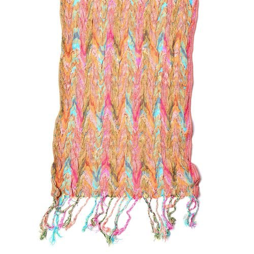 Orange, Pink and Multi Colour Zigzag Pattern Scarf with Tassels (Size 170X30 Cm)