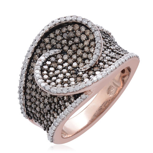 Designer Inspired Natural Champagne Diamond (Rnd), White Diamond Ring in Rose Gold, Black and Platinum Overlay Sterling Silver 1.500 Ct.