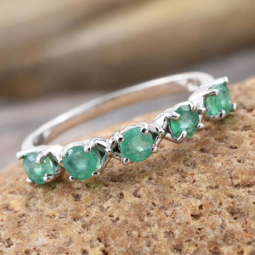 Kagem Zambian Emerald (Rnd) 5 Stone Ring in Platinum Overlay Sterling Silver 0.500 Ct.
