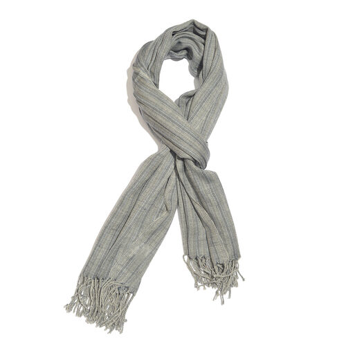 100% Merino Wool Grey and Beige Colour Stripes Pattern Scarf with Tassels (Size 210X95 Cm)
