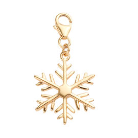 14K Gold Overlay Sterling Silver Snowflake Charm, Silver 1.60 gms