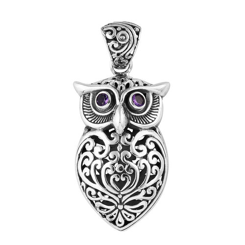 Royal Bali Collection Sterling Silver Owl Pendant, Silver wt 8.51 Gms.