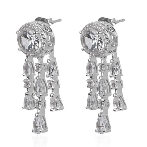 Petalite and White Topaz Earrings (with Push Back) in Platinum Overlay Sterling Silver 6.079 Ct. Silver wt 6.99 Gms.