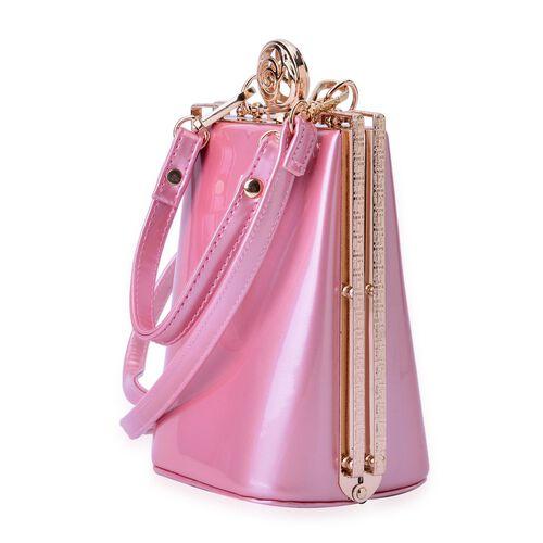 Light Pink Colour Clutch Bag With Removable Shoulder Strap (Size 17x13x10 Cm)