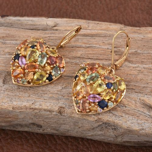 Orange Sapphire (Ovl), Green Sapphire, Yellow Sapphire, Kanchanaburi Blue Sapphire and Multi Gemstone Lever Back Heart Earrings in 14K Gold Overlay Sterling Silver 10.000 Ct.