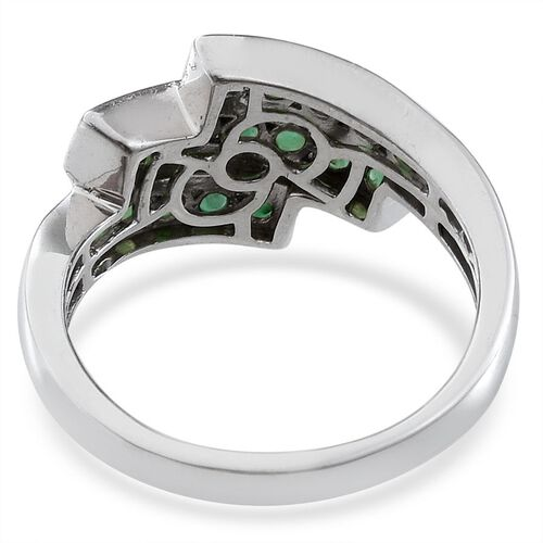 Kagem Zambian Emerald (Rnd) Ring in Platinum Overlay Sterling Silver 1.000 Ct.
