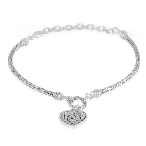 Royal Bali Collection Sterling Silver Heart Charm Bangle (Size 7.5 with 2.5 inch Extender), Silver wt 10.60 Gms.