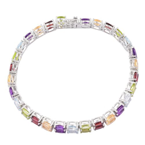 Mozambique Garnet (Ovl), Sky Blue Topaz, Hebei Peridot, Amethyst and Citrine Bracelet (Size 7.5) in Platinum Overlay Sterling Silver 28.750 Ct. Silver wt 16.00 Gms.