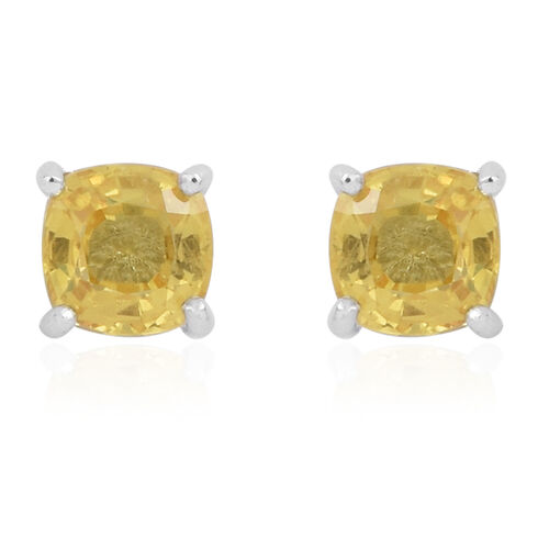 Yellow Sapphire (Cush) Stud Earrings in Rhodium Plated Sterling Silver 1.250 Ct.