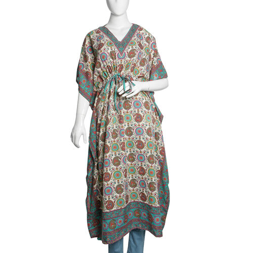 Designer Inspired - Blue, White and Multi Colour Paisley and Floral Printed Longline Kaftan (Free Size)