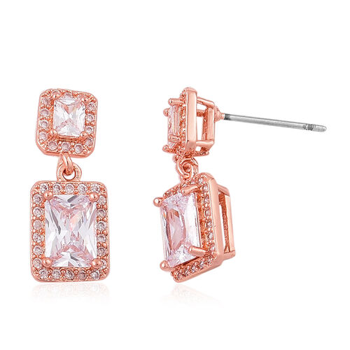 AAA Simulated Diamond Pendant With Chain (Size 18 with 1.5 inch Extender) and Earrings (with Push Back) in Rose Gold Tone