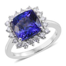 ILIANA 18K W Gold AAAA Tanzanite (Cush 5.19 Ct), Diamond (SI/G-H) Ring 5.850 Ct.