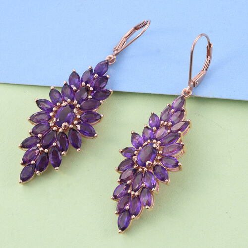 Amethyst (Ovl) Lever Back Earrings in Rose Gold Overlay Sterling Silver 12.000 Ct.