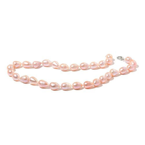 Hand Knotted High Lustre Double Shine Fresh Water Peach Pearl Necklace (10mm -11mm) (Size 18 with 2 inch Extender) and Bracelet (Size 7.5) in Rhodium Plated Sterling Silver