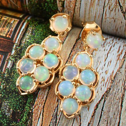 Ethiopian Welo Opal (Rnd) Earrings (with Push Back) in 14K Gold Overlay Sterling Silver 2.380 Ct.