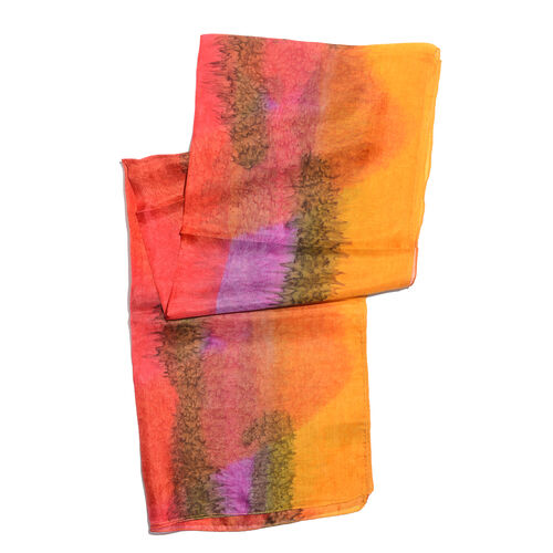 100% Mulberry Silk Red, Orange and Multi Colour Hand Screen Printed Scarf (Size 180x50 Cm)