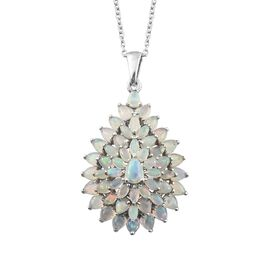 Ethiopian Welo Opal (Pear) Drop Cluster Pendant with Chain in Platinum Overlay Sterling Silver 4.000 Ct. Silver wt 7.20 Gms.