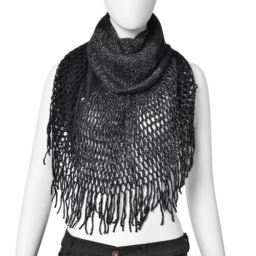 Silver Thread Knitted Black Colour Scarf (Size 170x20 Cm) and Ladies Wallet