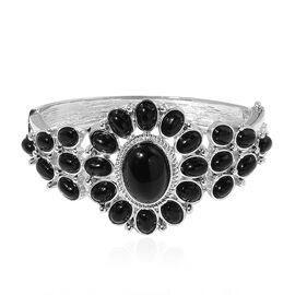 Designer Inspired-Black Agate Egyptian Style Bangle (Size 7) in Silver Tone 50.000 Ct.