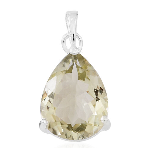 Green Amethyst (Pear) Solitaire Pendant in Sterling Silver 8.000 Ct.