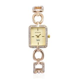 STRADA Japanese Movement Golden Dial with White Austrian Crystal Water Resistant Watch in Yellow Gold Tone