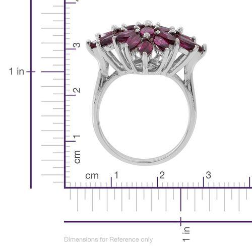 Rhodolite Garnet (Mrq) Cluster Ring in Rhodium Plated Sterling Silver 5.500 Ct.