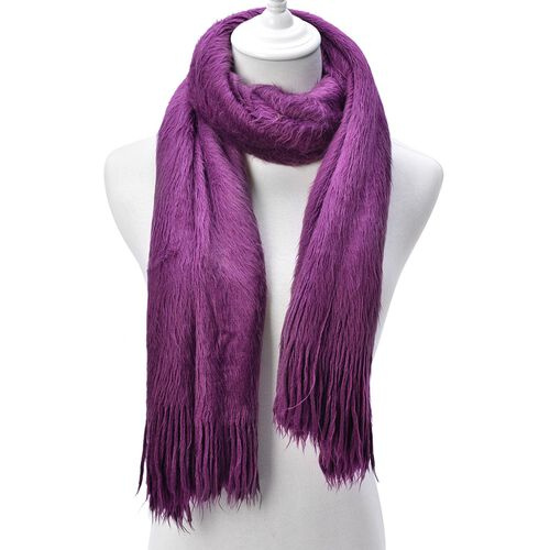 Fluffy Faux Fur Purple Colour Scarf (Size 155x70 Cm)