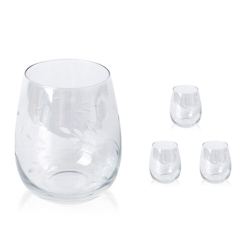 Set of 4 - Tumblers with Carved Leaf Design in Light Green Colour with Mother of Pearl Effect