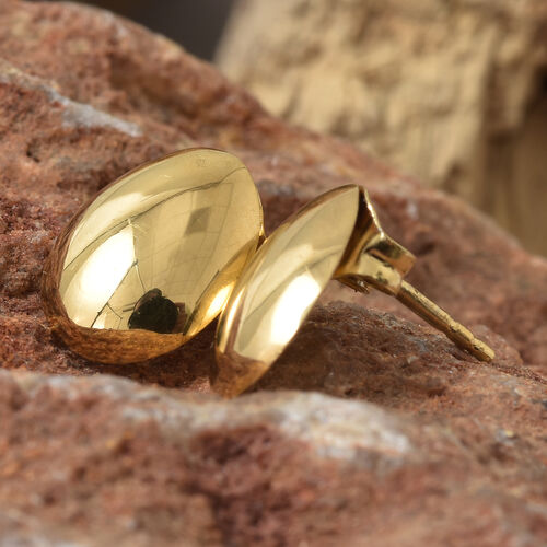 14K Gold Overlay Sterling Silver Egg Stud Earrings (with Push Back)