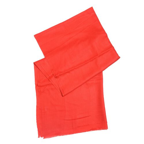 100% Cashmere Wool Red Colour Shawl (Size 200x70 Cm)