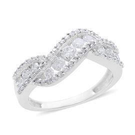 9K White Gold 1 Carat Diamond Crossover Ring SGL Certified I3 G-H
