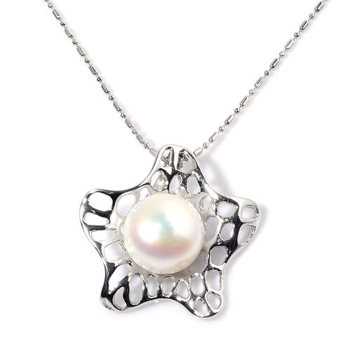Fresh Water White Pearl Pendant With Chain in Silver Tone with Stainless Steel