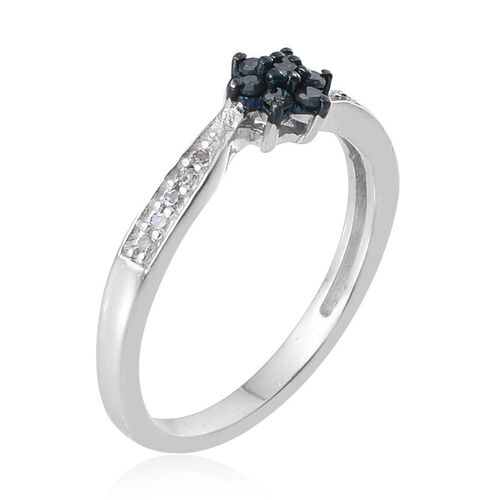 Blue Diamond (Rnd), White Diamond 7 Stone Ring in Sterling Silver 0.200 Ct.