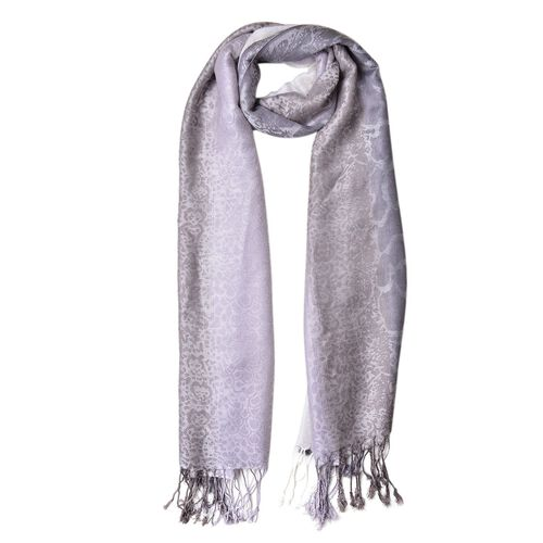 Grey and White Colour Leopard Pattern Scarf with Tassels (Size 180X65 Cm)