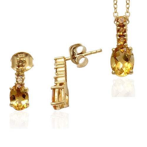 Brazilian Citrine 14K Gold Overlay Sterling Silver 2 Pcs Earring and Pendant Set  2.500  Ct.