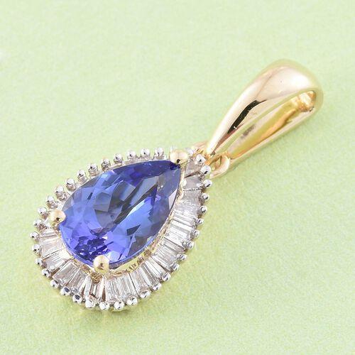 14K Y Gold AAA Tanzanite (Pear 0.85 Ct), Diamond (I3/G-H) Pendant 1.000 Ct.