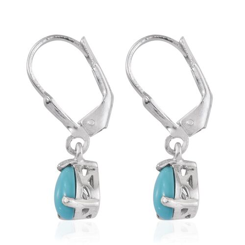 Arizona Sleeping Beauty Turquoise (Pear) Lever Back Earrings in Platinum Overlay Sterling Silver 1.500 Ct.