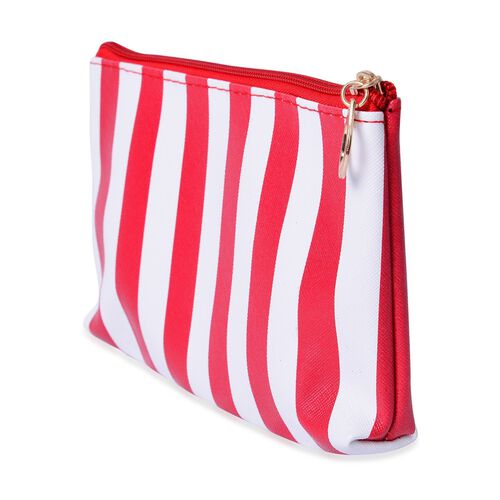 Set of 3 - Transparent Large (Size 26x15x6 Cm), Red and White Stripe Pattern Medium (Size 19x12.5x2.5 Cm) and Red Colour Small Cosmetic Bag (Size 14x10x4 Cm)