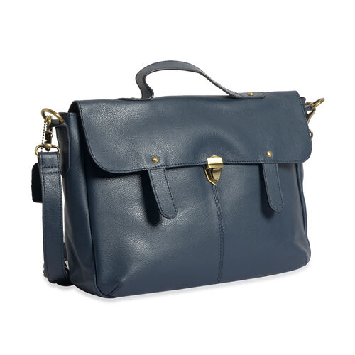Genuine Leather Slate Blue Colour Satchel Bag with Removable Shoulder Strap (Size 35 X 25 X 8 CM)