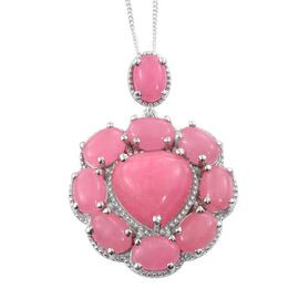 Pink Jade (Hrt 6.75 Ct) Pendant With Chain in Platinum Overlay Sterling Silver 16.500 Ct.