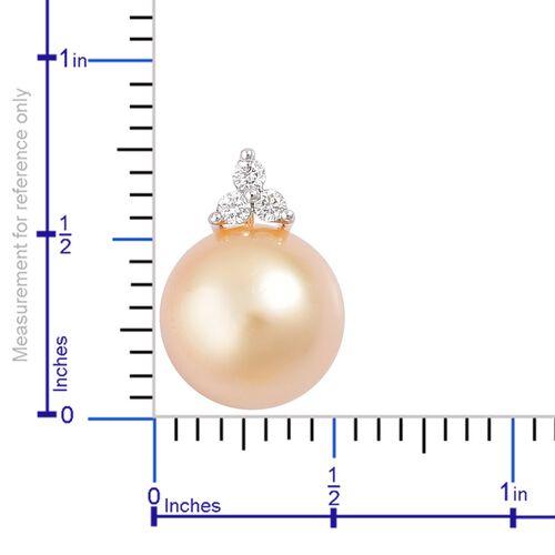 ILIANA 18K Yellow Gold AAA South Sea Golden Pearl (Rnd 9-10 mm) Pendant with Diamond (SI/G-H)
