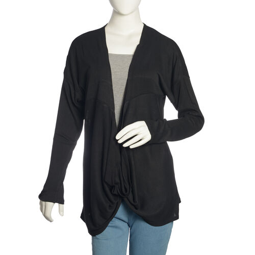 Black Colour Long Neck Pattern Cardigan (Size Medium / Large)