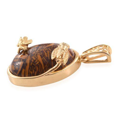 Rare Natural Honey Jasper (Ovl) Pendant in 14K Gold Overlay Sterling Silver 10.500 Ct.