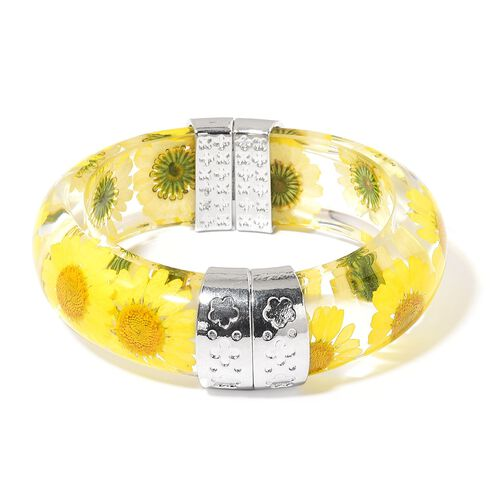Designer Inspired-Natural Yellow Daisy Flower Preserved Bangle (Size 8) in Silver Tone