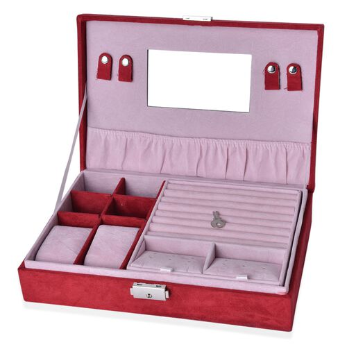 Multi Tier- Velvet Box with Removable Tray for Rings (70-80) and Earrings, Slot for Necklaces, Watches and Other Jewellery. (Size 28x19x6.5 Cm) - Red