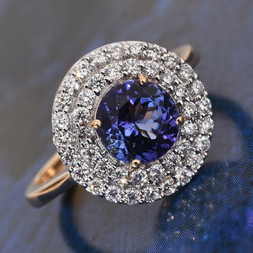 ILIANA 18K Yellow Gold 2.25 Ct AAA Tanzanite Halo Ring with Two Row Diamond (SI/G-H)
