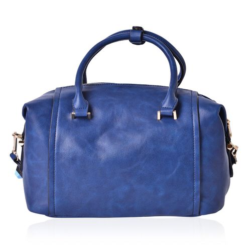 Mayfair Royal Blue Carryall Bag with Removable Geometric Studs Shoulder Strap (Size 29x21.5x11 Cm)
